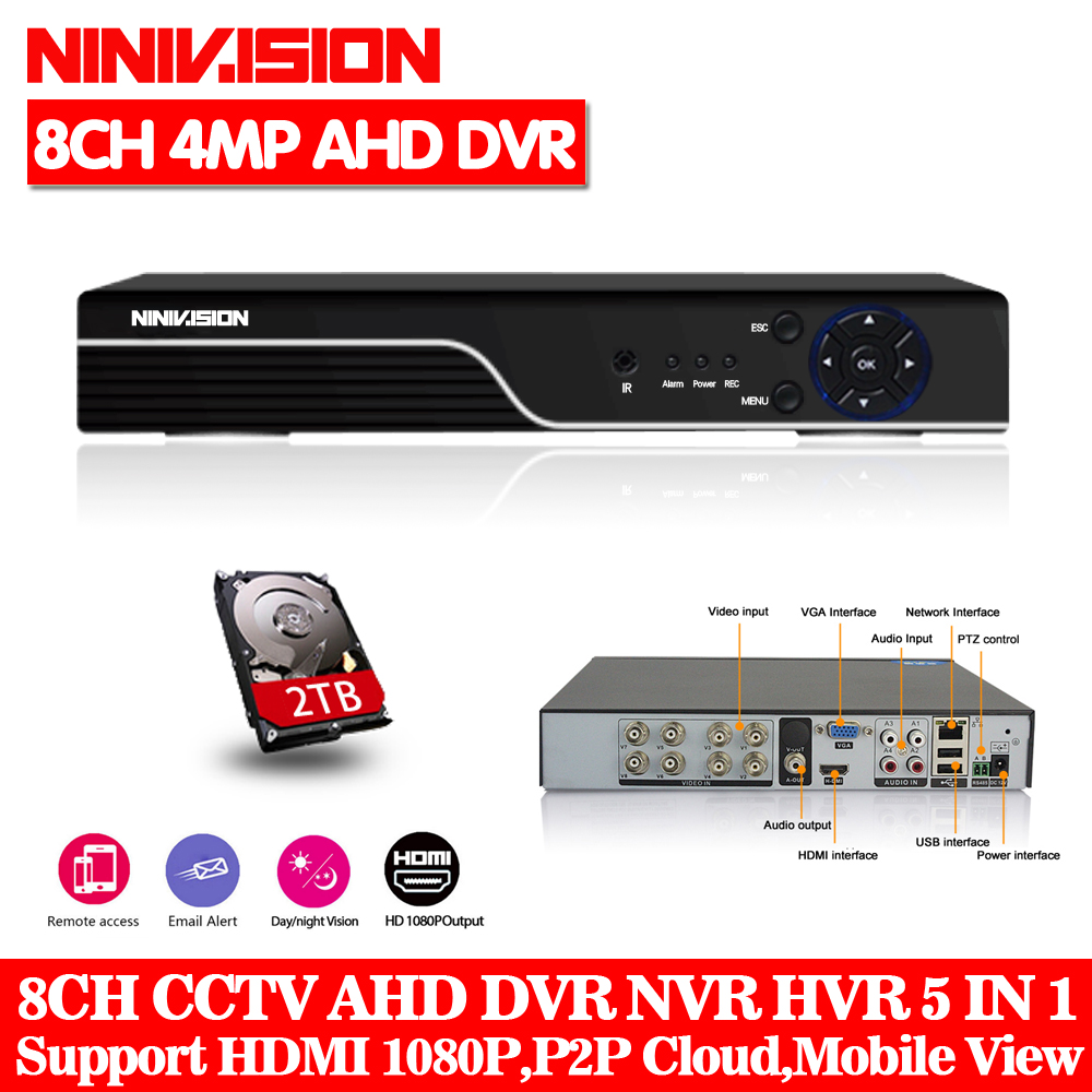 NINIVISION 8CH Hybrid DVR Onvif P2p 5 IN 1 4MP AHD DVR NVR XVR CCTV 8Ch 1080P 3MP 5MP Hybrid Security DVR Recorder With 2TB HDD ninivision ahd 4 channel 1080p hdmi 1080p 4ch hybrid ahd dvr hvr nvr onvif for security ip camera p2p function cctv dvr recorder