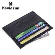KEVIN YUN Designer Brand Men Card Holder Slim Genuine Leather Male Credit ID Card Case Wallet