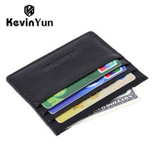 KEVIN YUN Designer Brand Men Card Holder Slim Genuine Leather Male Credit ID Card Case Wallet(China)