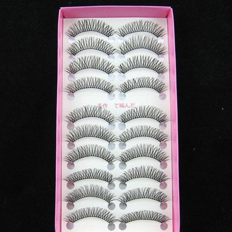 2017 New arrival 10 Pairs Fashion Eye lashes natural Handmade Long False Black Eyelashes Extension Lashes Makeup tools Maquiagem