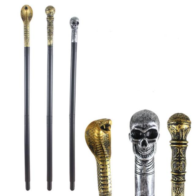 evil witch halloween handheld cane staff snake skeleton skull king magic wands canes costume party stage