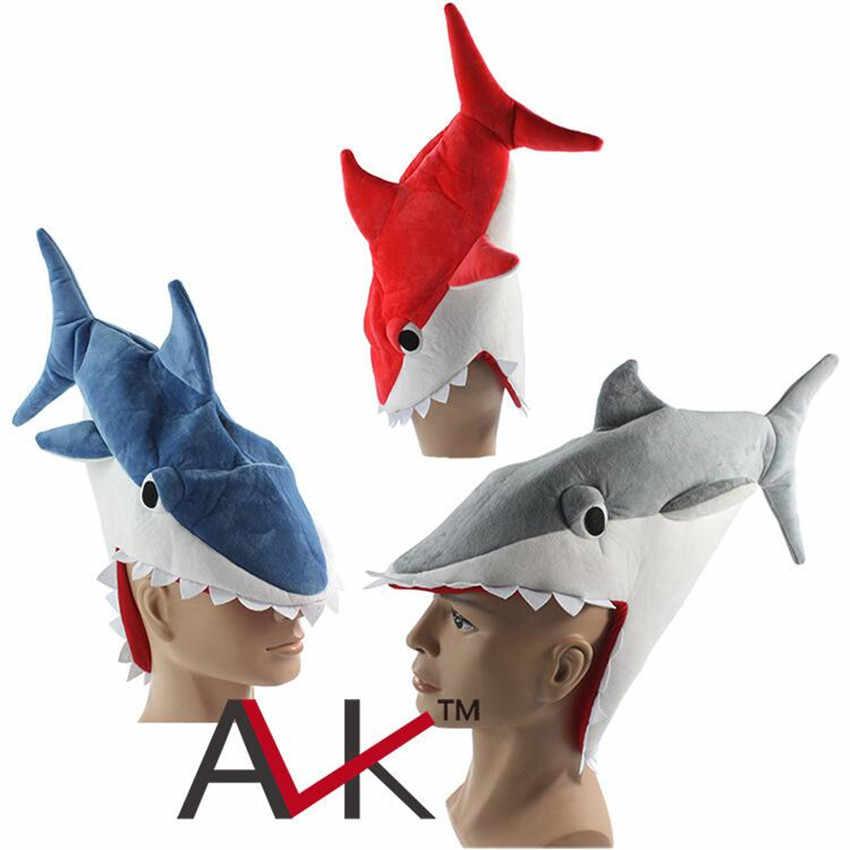 3991e3ebb67 Animal Shark Cosplay Costume 3D Hat Creative Individuality Fancy Cap Eat  Man Prank Shark Hat