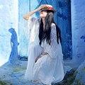 MX074 2016 verano mujeres de la capa outwear blanco de gran tamaño largo maxi estilo bohemio de la borla de la vendimia de encaje bordado gasa de la rebeca
