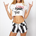 Tank Top Women blusa cropped feminino bustier crop top short sleeve femme summer sexy white tank tee t shirt letter print tops