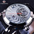 Forsining Luxury Silver Corrugated Fashion Series Men Watches Top Brand Luxury Automatic Diamond Designer Male Wrist Watch Clock