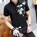Bird Floral Print Short Sleeve Mens Polo Shirts2017 New Fashion Summer Polo Homme Brand-clothing black Grey Blue White Plus Size