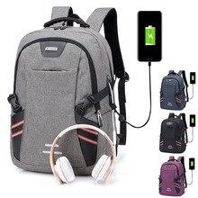 Litthing Laptop Backpack Male Multifunction For Teenager Fashion Travel Shoulder Bag USB Charging Men Business Notebook