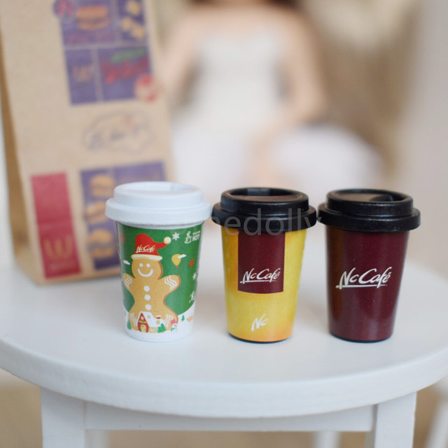 1 Set 6 Scale Dollhouse Miniature Coffee Cups Miniatura Doll Food For Blyth Pullip