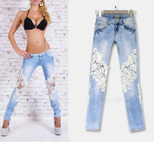 2017 Low Waist Lace Skinny Jeans Women High Quality Sexy Cotton Blue Slim Vaqueros Mujer Hollow