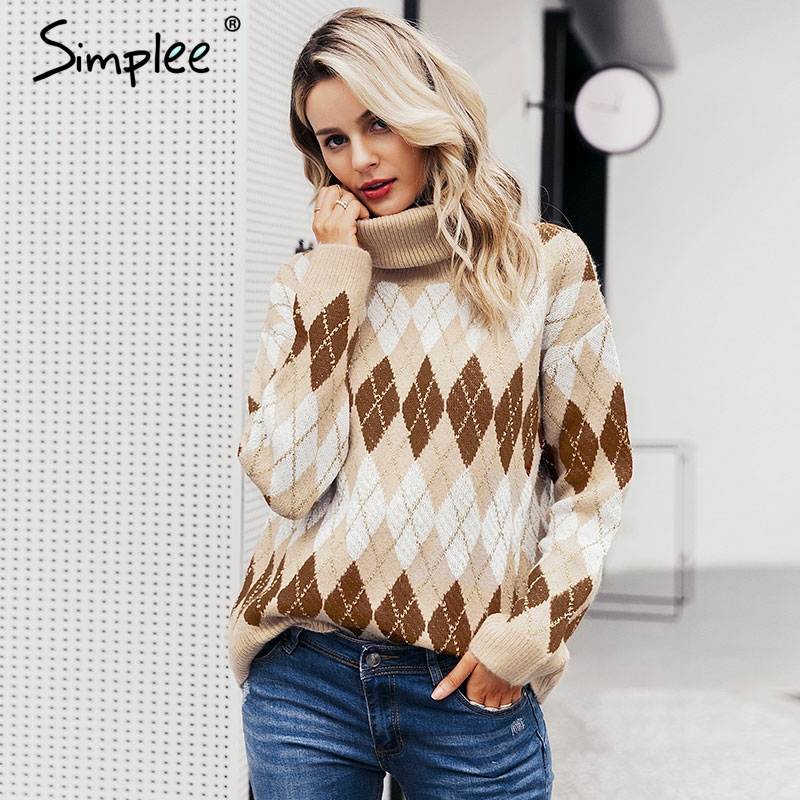 Simplee Knitted Women Christmas Sweater Vintage Geometrical Turtleneck Pullover Jumper Autumn Winter Ladies Christmas Sweater