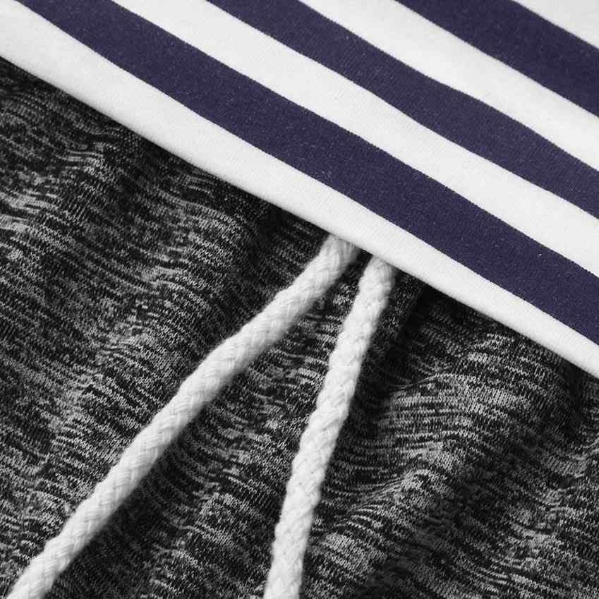 2 шт. одежда для малышей мальчиков и девочек, худи с полосками костюм: топ + штаны, комплект одежды для детей в стиле пэчворк крутой модный дизайн 8 августа