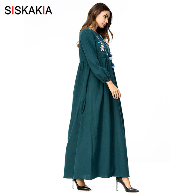 Siskakia Floral Embroidery Maxi long dress Spring Autumn 2018 high waist draped design swing dress Vintage tassel drawstring 4XL