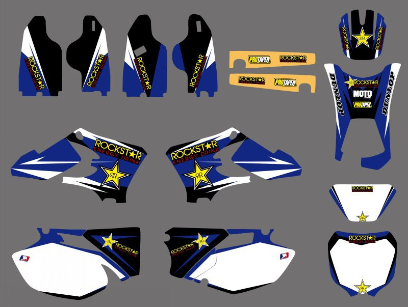 0500 Bule Star NEW TEAM GRAPHICS BACKGROUNDS DECALS For Yamaha WR250F WR450F WRF250 WRF450 2005 2006