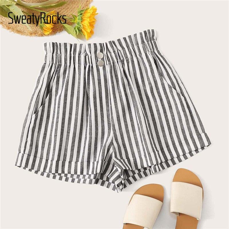SweatyRocks Ruffle Waist Slant Pocket Stripe   Shorts   For Women Boho Straight Leg   Short   2019 Streetwear Mid Waist Summer   Shorts