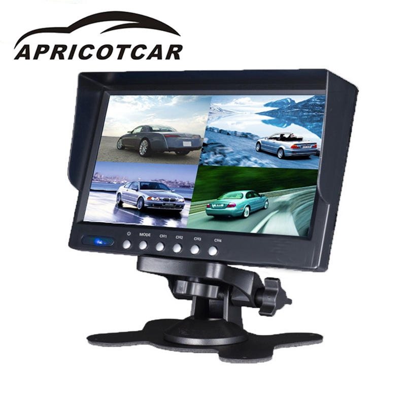 HD Rear View Rear Camera 7 inch 4 Split Screen Car Monitor 4 Channels Video Input Truck Harvester LCD Video Players DC 9V-35V eyoyo kj 708 7 inch hd tft lcd wired car monitors split quad monitor 4 channel video input full hd color image with sunshade