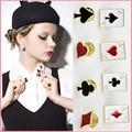 HOT 2016 Fashion Brooch for women Poker Design small metal breast pin cravat mini Collar button brooches jewelry #JO012