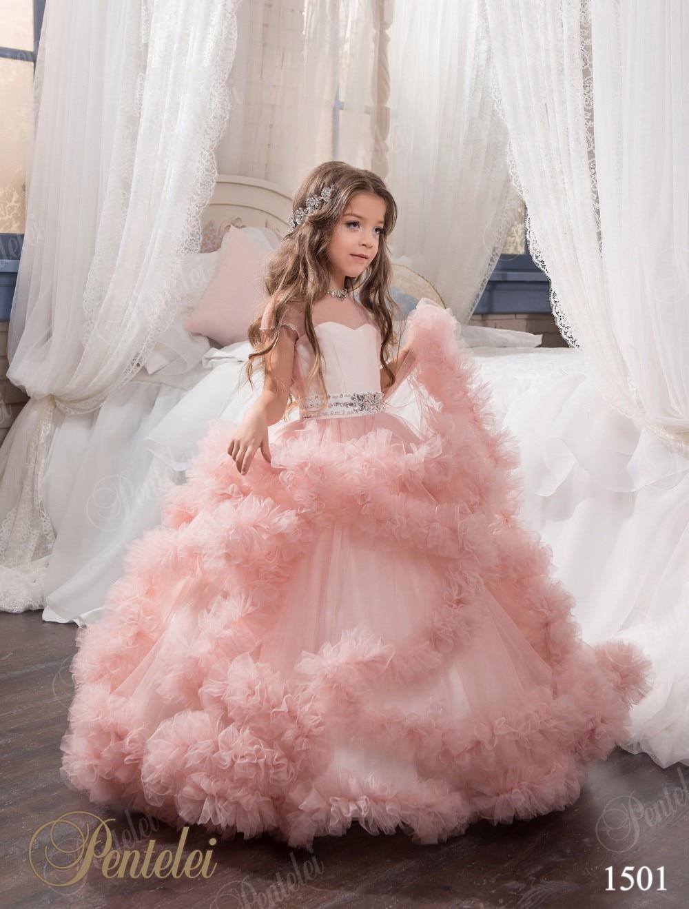 dab576b87 Mint Girls Vestidos Del Desfile de Ostentación Rosa Azul Púrpura Escarpado  Piso de Las Colmenas Longitud Niñas Niños Vestido de Fiesta Vestidos de  Fiesta 12 ...