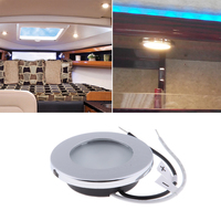led warm 1 Pcs LED Round Roof Ceiling Interior Dome Light Lamp For Boat Yacht Car RV 3000k Warm Light Stainless Steel (4)