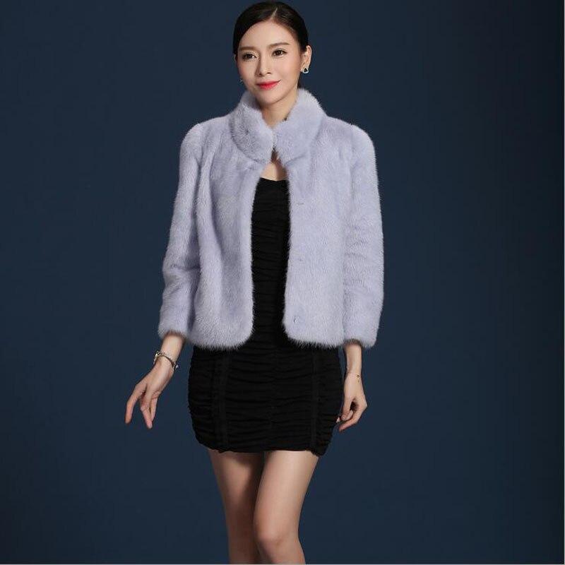 grey 2017 Mode Fourrure Couleur purple Type Blue Manteau Naturel Chaud De Style lotus Pink Femmes Vison Réel 100 Nouveau black Court D'hiver Color Light Plein 707qrR6
