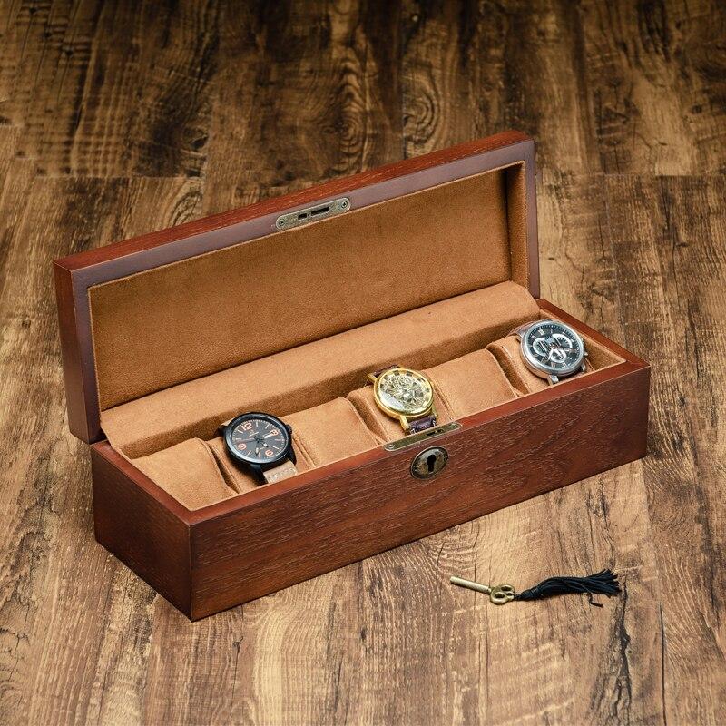 Nouveau 2019 boîte de rangement de montre en bois avec affichage de serrure boîtiers de montre mécanique boîte paquet bijoux boîte-cadeau WB031
