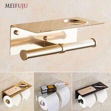 MEIFUJU алюминиевый держатель для туалетной бумаги с полкой Золотой держатель для туалетной бумаги черный двойной рулон держатель для туалетной бумаги с пепельницей