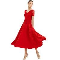 Ballroom Dance Dresses Summer New Short Sleeve Lace Dancing Costume Women Waltz Ballroom Competition Dance Dress Waltz Tango