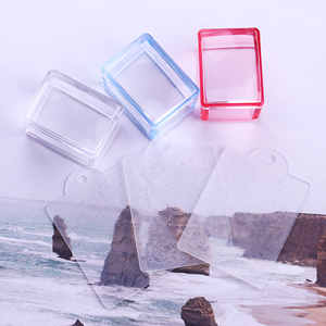Image 5 - 1 Pc Red Blue Clear Handle Rectangle Nail Stamper Silicone Jelly Head with Scraper Nail Art Tool