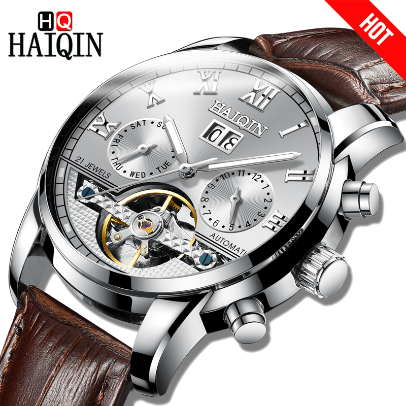 2018 HAIQIN Automatic Mechanical Men Watches Business Watch men Leather Tourbillon Waterproof Male Wristwatch Relogio Masculino