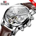 2018 HAIQIN автоматические механические мужские часы деловые часы мужские кожаные турбийон водонепроницаемые мужские наручные часы Relogio Masculino