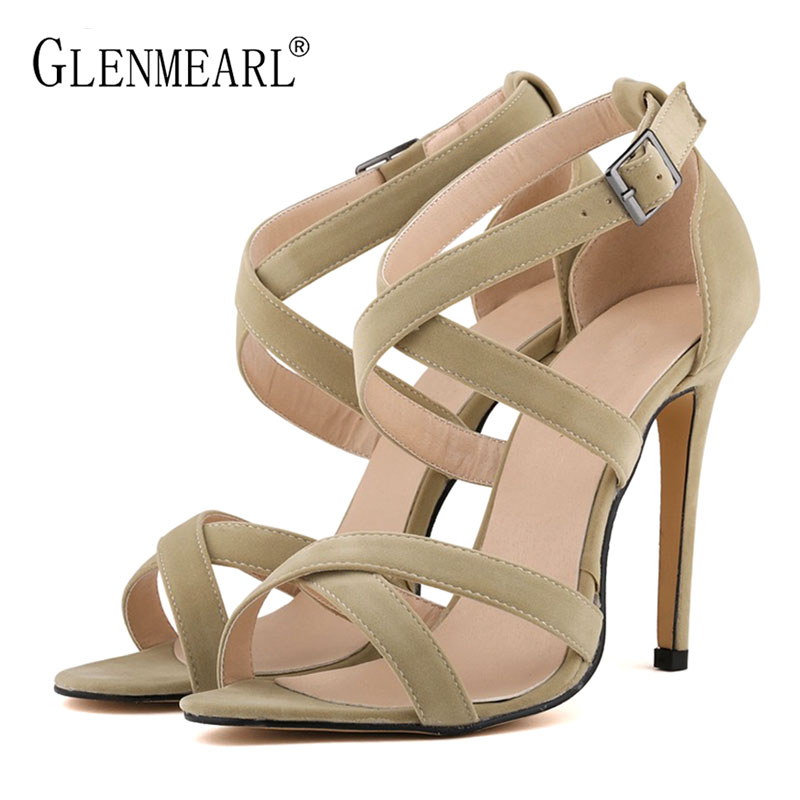2018 Summer Sexy High Heels Women's Sandals Shoes Female Sandals Thin High Heels Buckle Summer Shoes Plus Size Wedding Shoes 46 cdts shoes woman plus 35 46 summer new ladies crystal dice platforms sandals 20cm thin high heels sexy wedding pumps