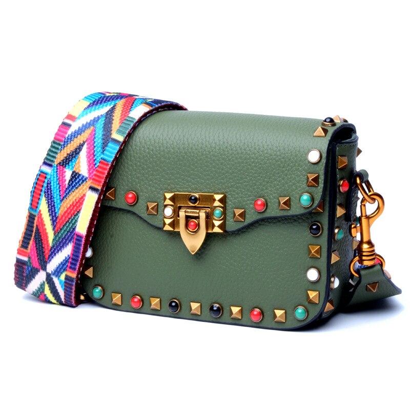 New ladies colored rivet leather square bag European and American trendy ladies leather diagonal bag shoulder bag