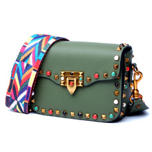 New ladies colored rivet leather square bag European and American trendy ladies leather diagonal bag shoulder bag