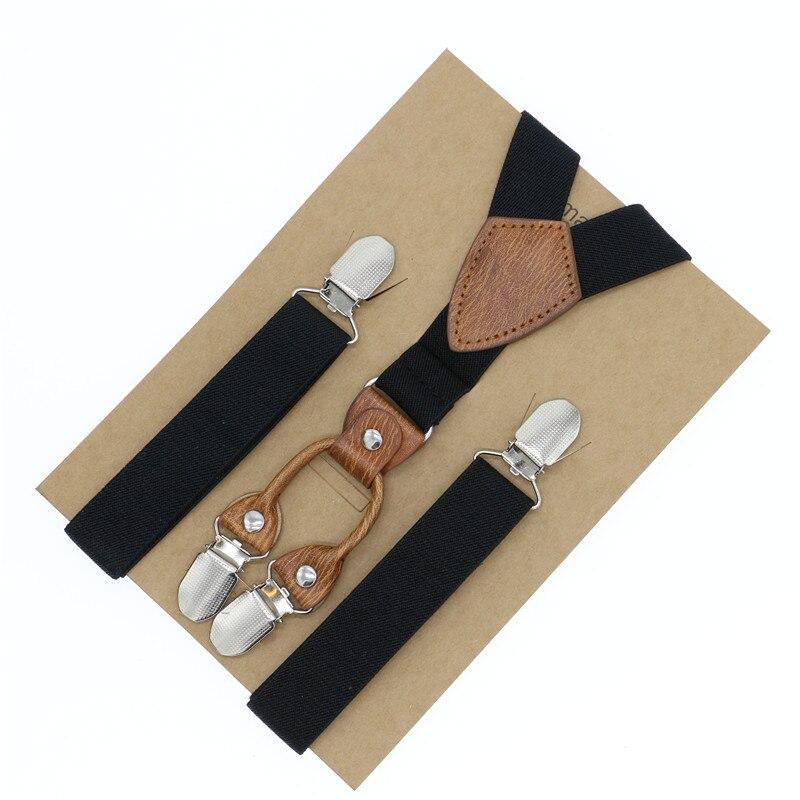 Classic Clip-on Suspenders 3 Metal Clips Braces Gentlemen Faux Leather Braces