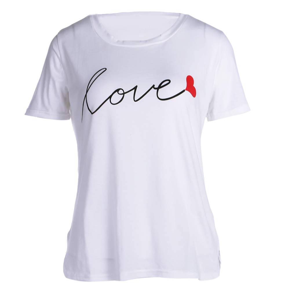 2018 Summer T-Shirts Women Cute Love Letter Print Student Fashion Short Sleeve Tee Shirt Tops Camiseta feminina