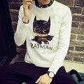 Casual Men Shirts 2016 New Arrival Korean Slim Fashion Batman Printed T Shirt Mens Long Sleeve All-match O-Neck Men Tops Retails