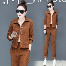 YICIYA 2019 spring women 2 piece pants sets outfit co-ord set top and pants suits plus size Corduroy Harajuku brown clothing