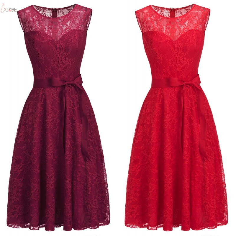 2019 Sexy Plus Size Burgundy Red Lace Short   Bridesmaid     Dress   Wedding Guest   Dress   Formal Party Gown New