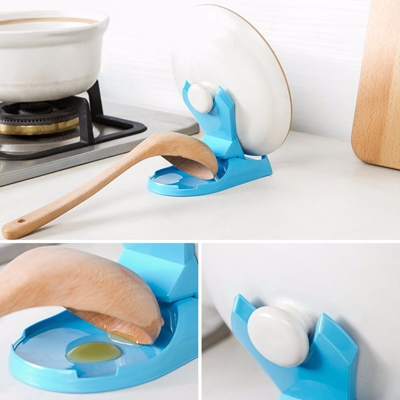 1pc Pot Lid Shelf Dispenser Pan Spoon Pot Holder Kitchen Storage Design Cooking Tool  (5)