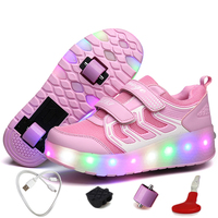 USB Charging Illuminating Rollers Sneakers Kids Shoes for Girl Sneakers Breathable Roller Skates Sneakers with Two Wheels