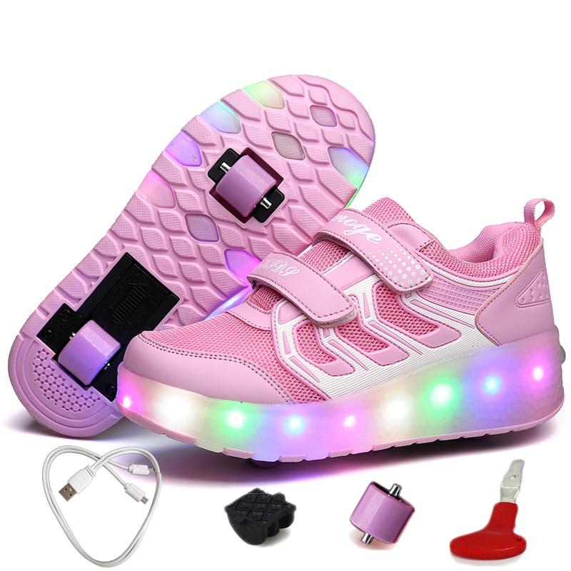 USB chargeant des baskets illuminatrices de rouleaux chaussures d'enfants pour des baskets de fille baskets respirantes de patins à roulettes avec deux roues