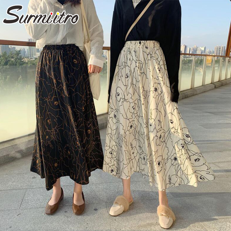 Surmiitro Long Print Chiffon Skirt Women 2020 Spring Summer Fashion Korean Elegant High Waist Pleated Sun Maxi Skirt Female