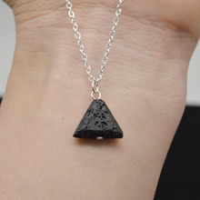 10pcs Unique Triangle Lava Necklace Natural Black Lava Pendant Jewelry For Women Aromatherapy Essential Oil Diffuser Necklace