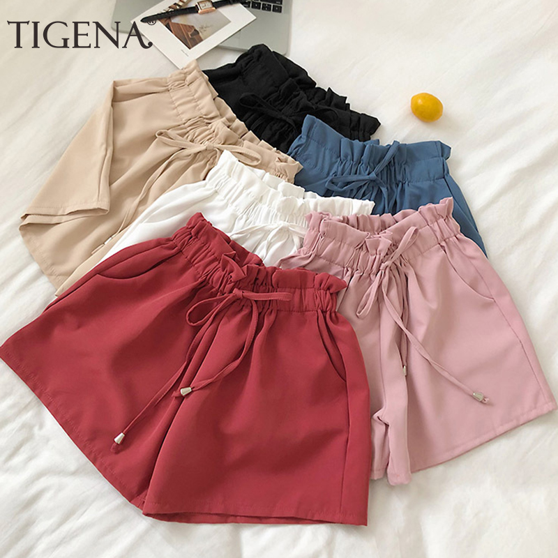 TIGENA Elastic High Waist   Shorts   Women 2019 Summer Korean Casual Belt Pocket Booty   Shorts   Female Wide Leg Hot   Short   Pants Ladies