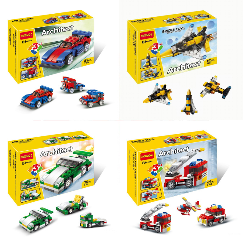 DECOOL City Creator 3 in 1 Mini Skyflyer Fire Rescue Speeder Sports Car Model Building Blocks Toys For Children Compatible Legoe 0367 sluban 678pcs city series international airport model building blocks enlighten figure toys for children compatible legoe