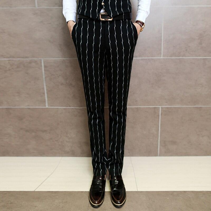 New Mens Classic Black Striped Dress Pants Fashion Business Wedding Banquet Men Suit Pants ...