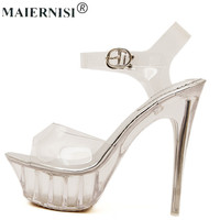 2017 Summer Platform Sexy Clear Pvc Strappy Sandal Holiday Shoe For Women Large Size 43 42