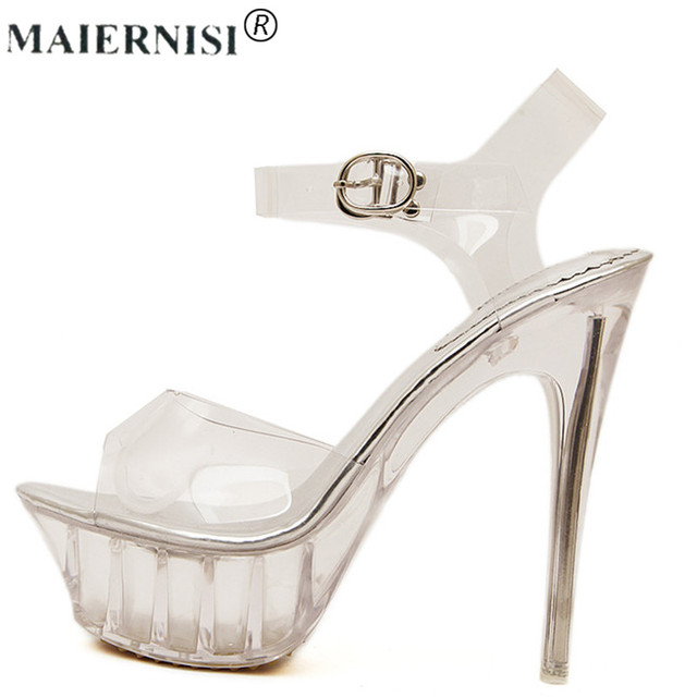 552adbc607ef 2019 Summer Platform Sexy Clear Pvc Strappy Sandal Holiday Shoe for Women  Large Size 43 42 9 High Heel Big Pump Lady Female Plus