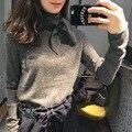 Mulheres branco cinza camisola runway moda mink cashmere pullovers jumper de camisola com arco de alta qualidade de malha grossa quente
