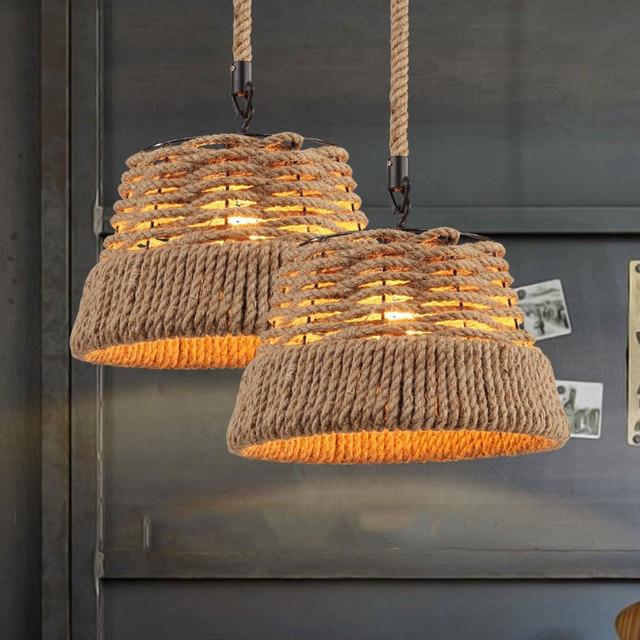 American vintage country pendant lamp cafe restaurant bar tea chandelier study dessert house bar store hemp rope hanging lamps
