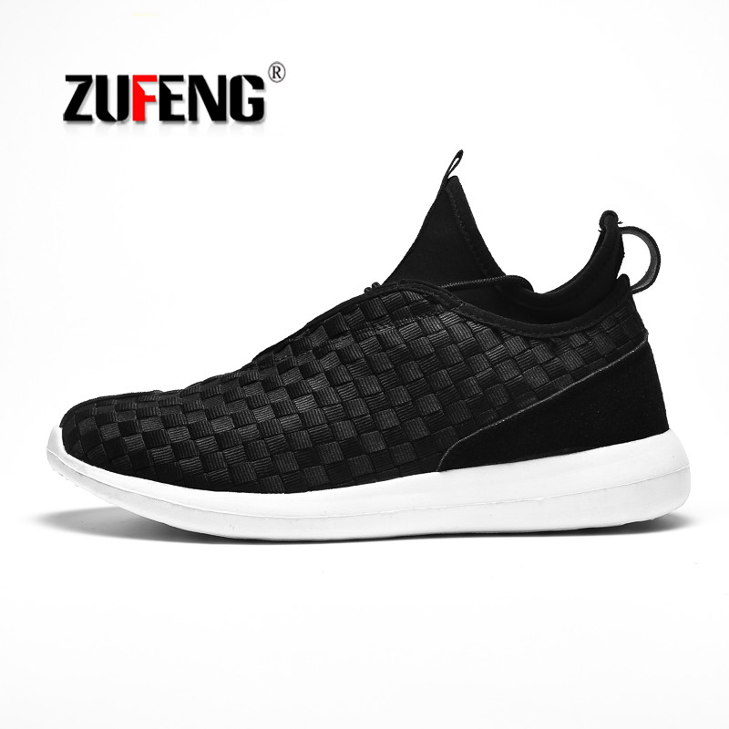 Breathable Weave Running Shoes for Men Outdoor Air Mesh Sport Trainers Sneakers Cushioning Walking Shoes Big Size 45 Zapatillas